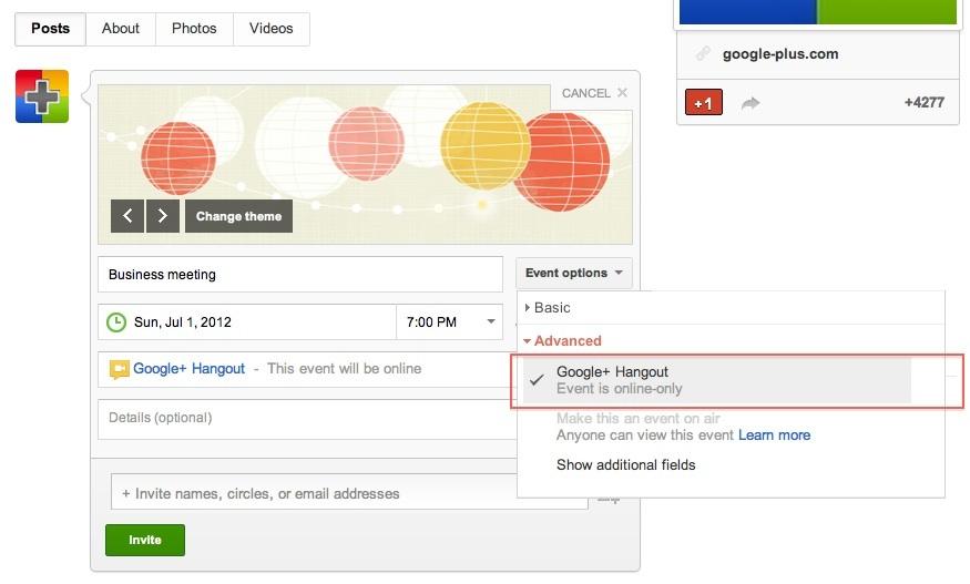 Google+ hangouts scheduled through events