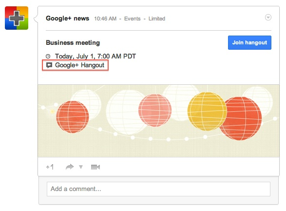 Click on Google+ hangout to launch and join hangout