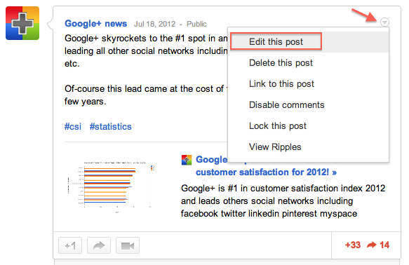 How to Edit a Google+ Post or Comment After Publishing?