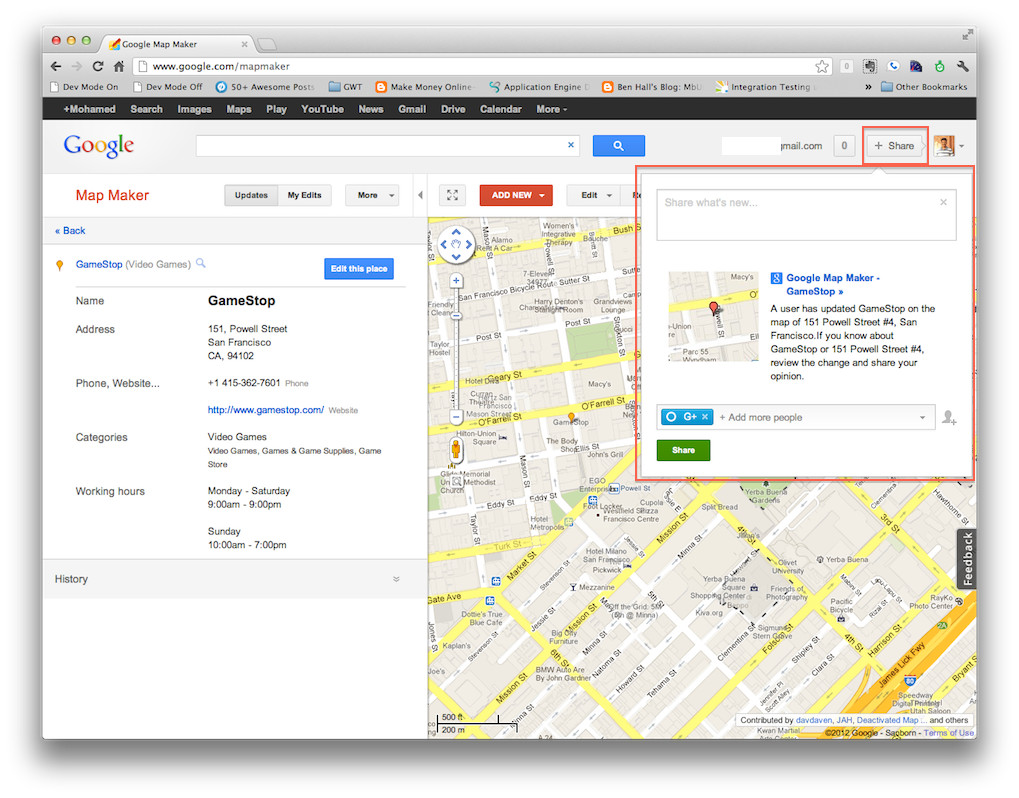 Map maker gets google+ share : Collaboratively map any place, business or destination!
