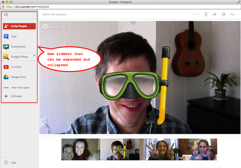 Google+ hangout screen redesigned with new sidebar, colorful notifications and easy to find apps!