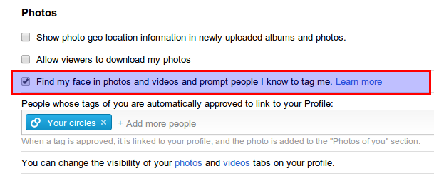 disable find my face option in G+