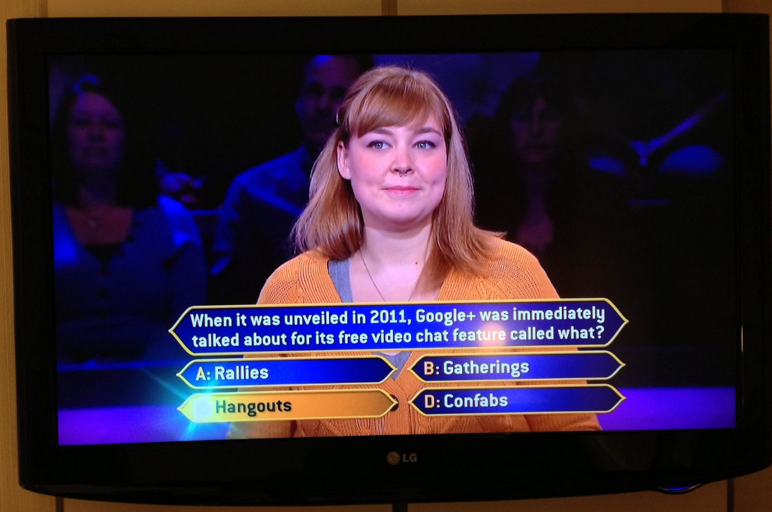 Hangouts Question Asked in 'Who Wants to Be a Millionaire' TV Show