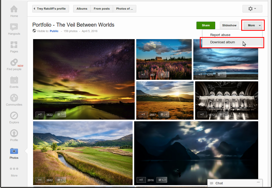 How to download a publicly shared entire google+ album?
