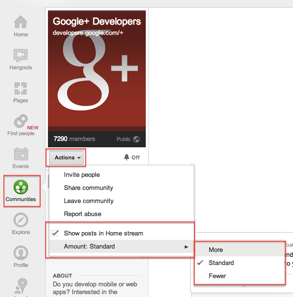 How to control home stream with google+ community posts