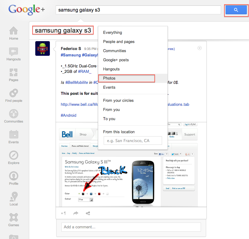 Google+ Search Now Supports Filtering of All Types : Photos, Posts, Hangouts, Events, Communities, Etc!
