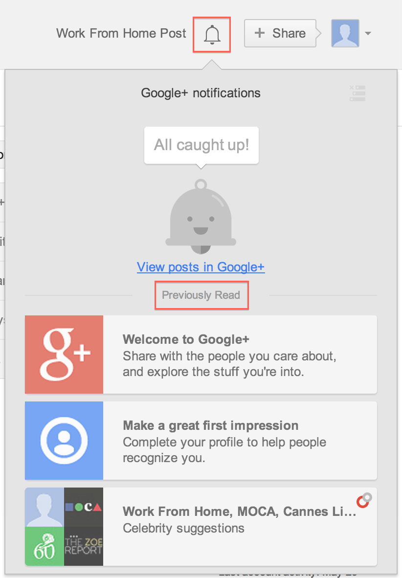 All new google+ notifications layout with bell icon released!