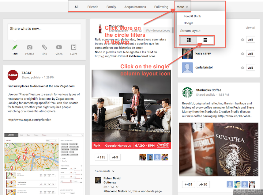 Google+ option to switch from multiple column to single column layout