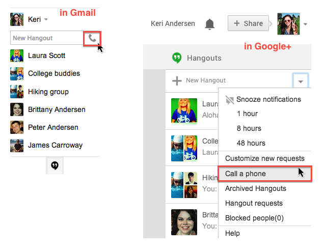 Now make free phone calls from gmail and hangouts web app, It's back!