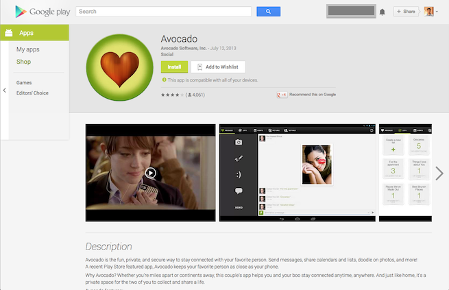 Install android app page