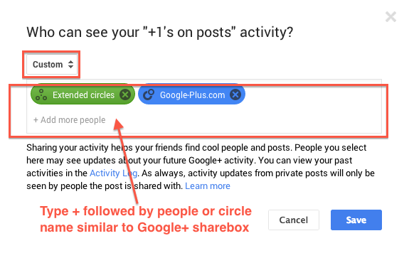 Custom option to select people/circles like sharebox