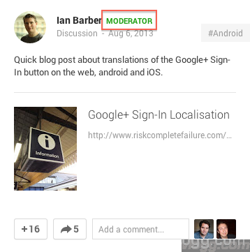Google+ Communities Post Moderator Label