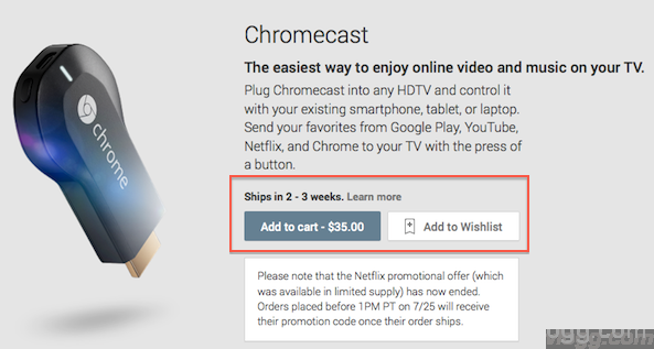 Chromecast Availability on Google Play Store updated to 2 to 3 weeks