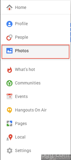 Select Photos from Google+ Menu