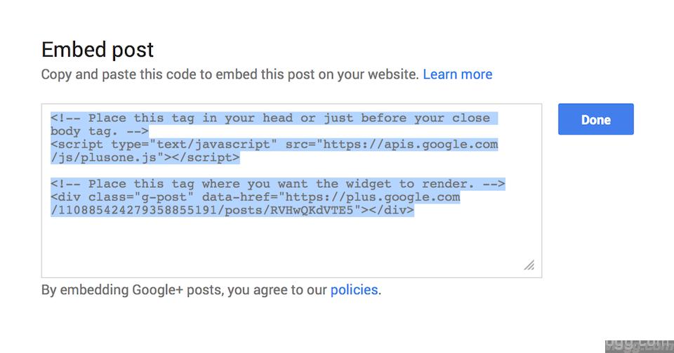 Embed Google+ Post Javascript Code