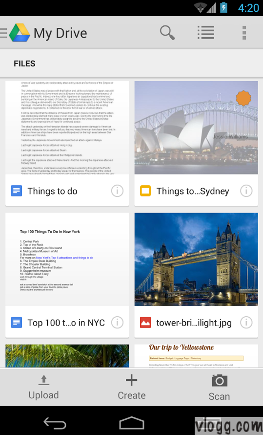 Two Column View in Google Drive Android 1.2.461.14 [Images: Play Store]