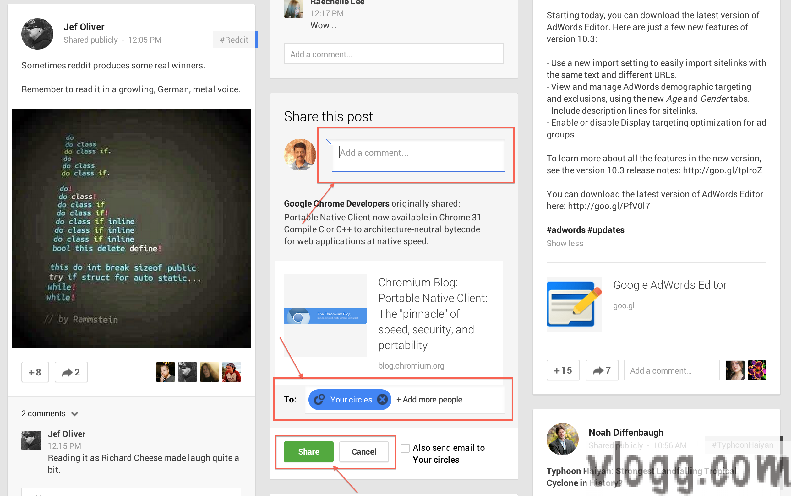 Google+ Share option now appears inline to a post compared to the previous share dialog