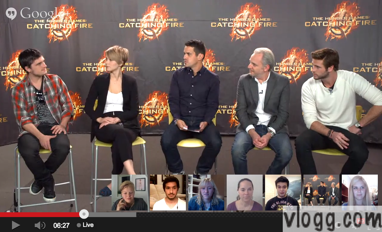 The Hunger Games Catching Fire Google+ Hangout Live Now!
