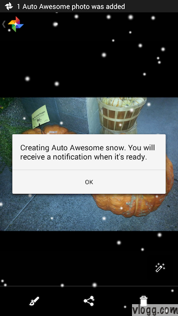 Creating AutoAwesome Snow Confirmation on Google+ Mobile App [Images: vlogg.com]