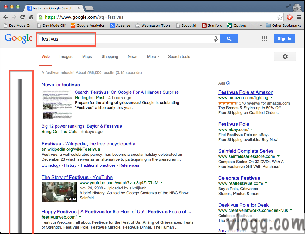 Google 'Festivus Pole' Easter Egg on Search Results