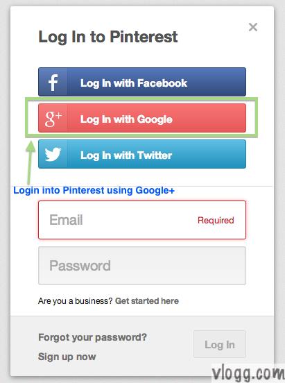 Signing into Pinterest using Google+ Signin on Web [Images: vlogg.com]