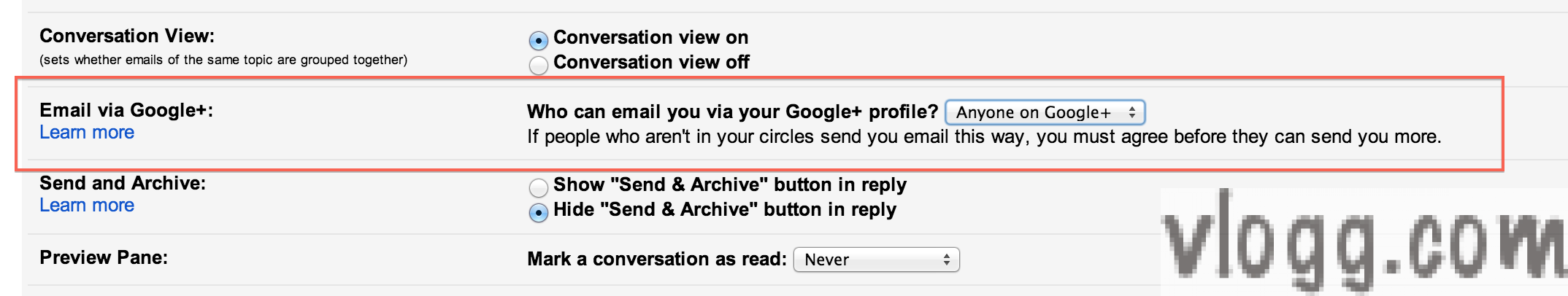 """How to change """"Who can Email via Google+?"""" Setting [images: vlogg.com]"""