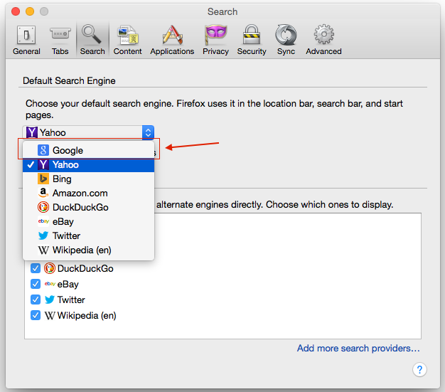 Change Default Search Engine to Google from Yahoo