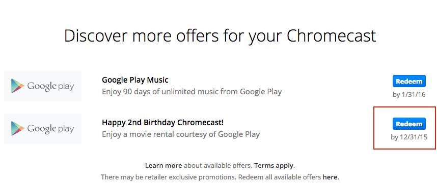 Free Chromecast Movie Rental Offer Coupon