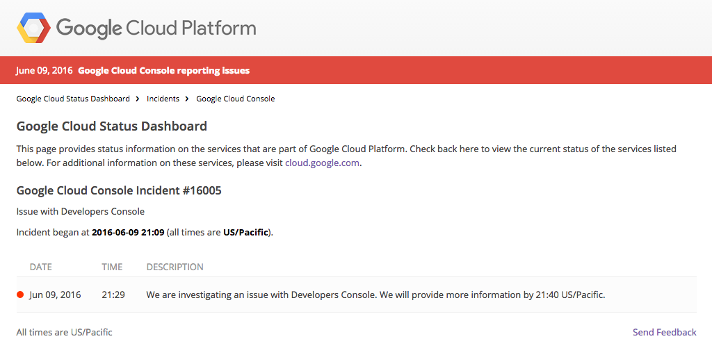 Google Cloud Console Is Experiencing Outage