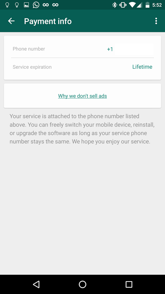 WhatsApp Rolls out Lifetime Free Subscription!