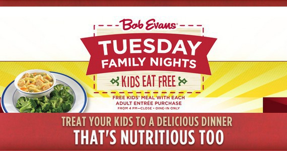 Kids Eat Free Tuesday Nights at Bob Evans