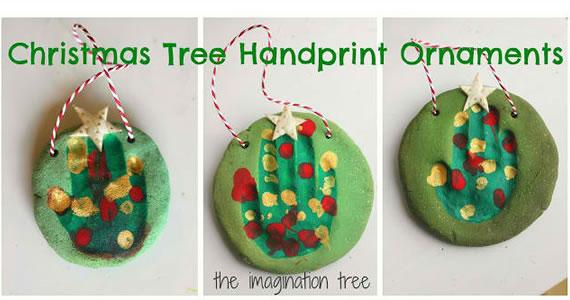 Salt Dough Handprint Christmas Tree Ornaments