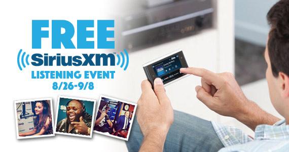 Free Sirius XM Listening Event 8/26-9/8