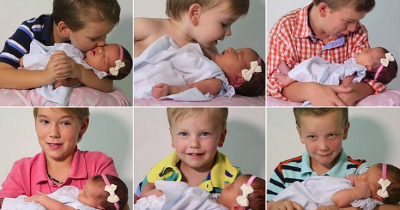 Six Brothers Meet Their New Sister