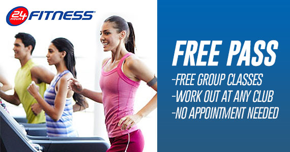 Get A Free Pass To 24 Hour Fitness