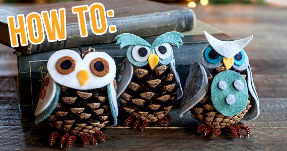 DIY Pinecone Owl Ornaments