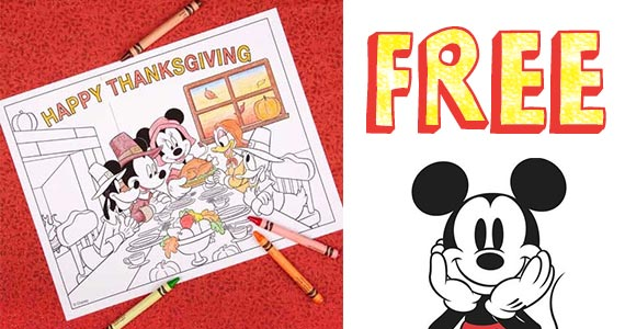 Free Mickey & Friends Thanksgiving Coloring Pages