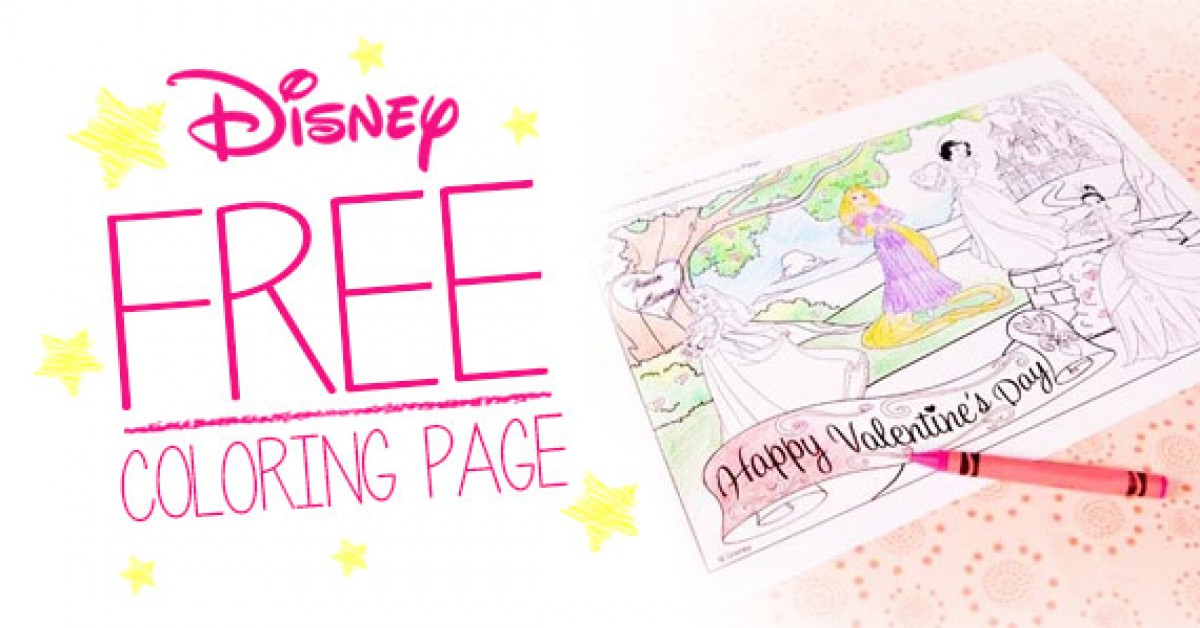 Free Disney Princess Valentine's Day Coloring Page