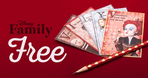 Free Printable Alice in Wonderland Valentine's Day Cards