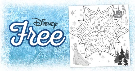 Free Printable Anna and Elsa Snowflake Maze