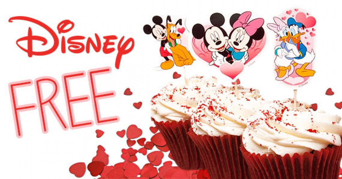 Free Printable Mickey and Friends Valentine's Day Cupcake Toppers