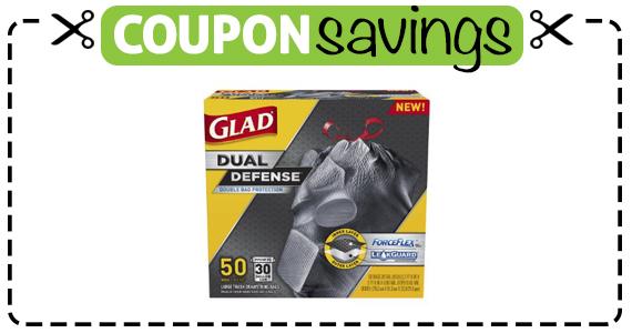Save $1.25 off Glad Dual Defense Trash Bags