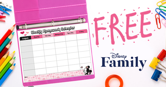 Free Minnie's Weekly Homework Chart