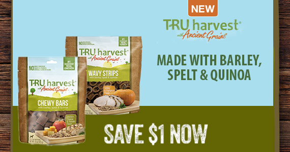 Save $1 off TRU Harvest® With Ancient Grains Dog Treats at Walmart