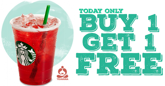 Buy 1 Get 1 Free Teavana Shaken Iced Tea at Starbucks Today
