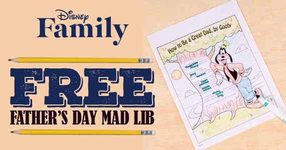 Free Goofy's Color-In Father's Day Mad Lib Printable