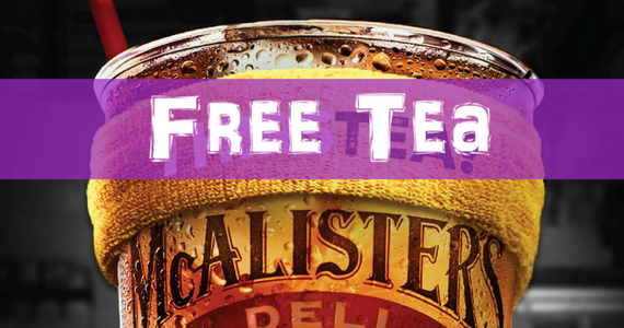 Free Tea At McAlister's Deli TODAY!