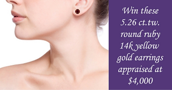 Win a Pair of Gold Ruby Earrings