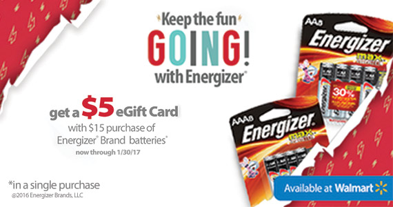 Buy Energizer Batteries & Get a $5 eGift Card