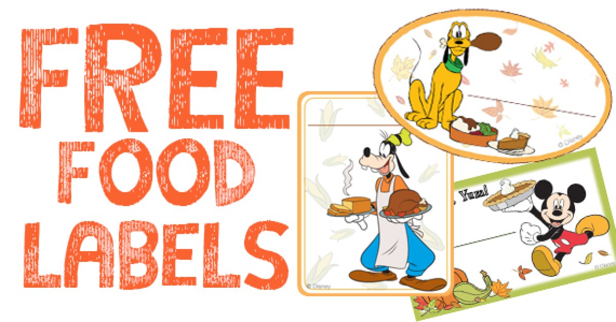 Free Mickey & Friends Thanksgiving Food Labels